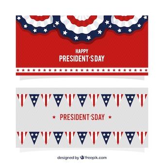 Bannières rayées avec une décoration plat pour le jour du président