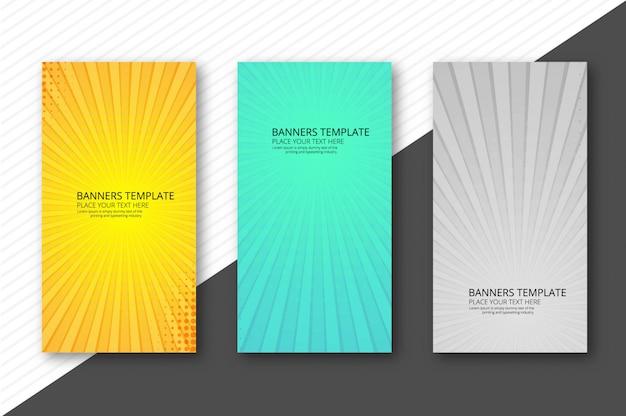 Bannières de rayons colorés abstraites définie modèle arrière-plan