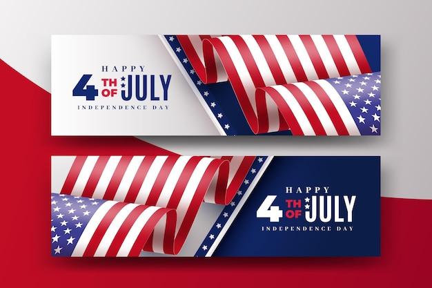 Bannières réalistes 4 juillet fête de l'indépendance