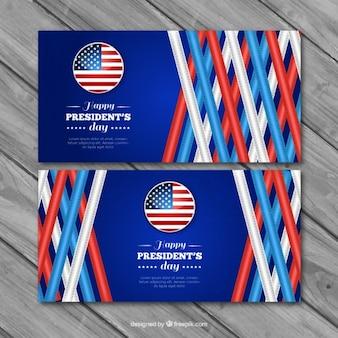 Bannières réalistes avec des bandes pour le jour du président