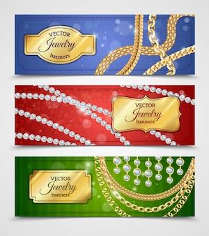 Bannières réalistes de bijoux avec des chaînes et des boucles d'oreilles