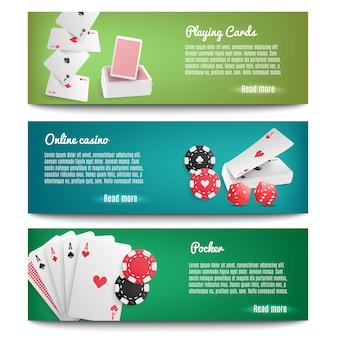 Bannières réalistes de casino en ligne