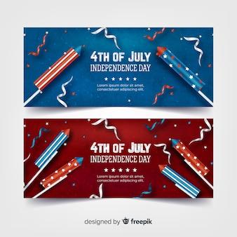 Bannières réalistes du 4 juillet