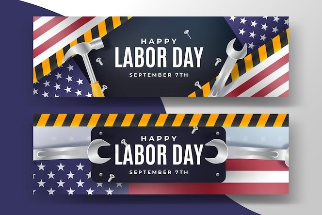 Bannières réalistes de la fête du travail aux états-unis