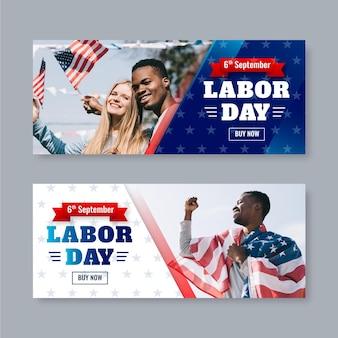 Bannières réalistes de la fête du travail des états-unis avec photo
