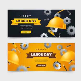 Bannières réalistes de la fête du travail (usa)