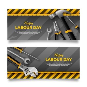 Bannières réalistes de la fête du travail