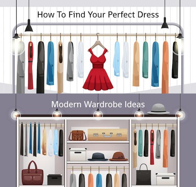 Bannières réalistes de garde-robe moderne