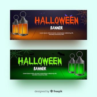 Bannières réalistes de halloween lanterne à l'ancienne