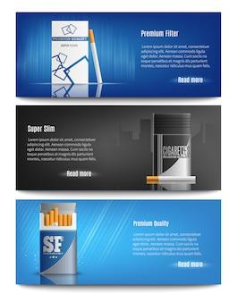 Bannières réalistes de paquets de cigarettes