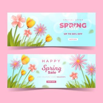 Bannières réalistes de printemps avec des fleurs des champs en plein jour