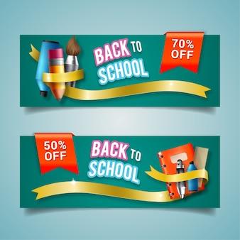 Bannières réalistes de retour à l'école