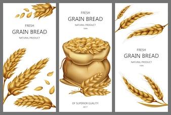Bannières réalistes avec des sacs de toile pleine de céréales ou de céréales, des pointes