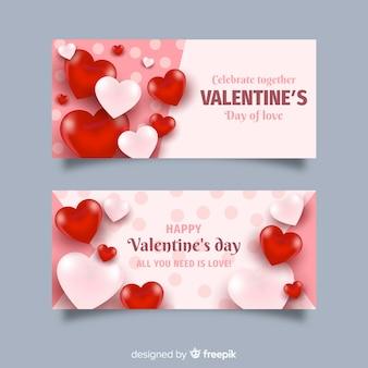 Bannières réalistes de la saint-valentin