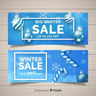 Bannières réalistes de soldes d'hiver
