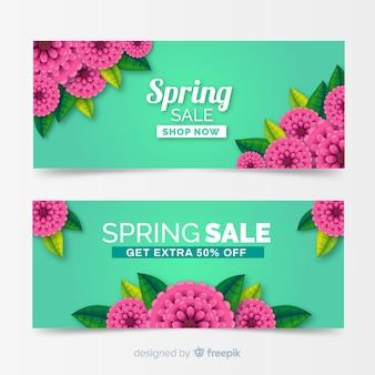 Bannières réalistes de vente de printemps