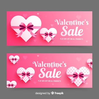 Bannières réalistes de vente de saint valentin