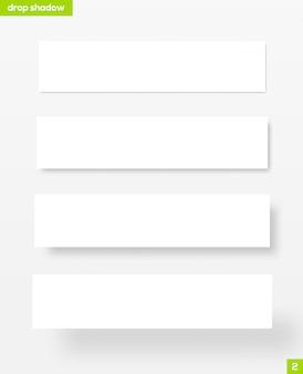 Bannières rectangulaires blanches avec ombre portée - illustration. matériel .