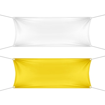 Bannières rectangulaires horizontales vides blanches et jaunes vides avec des cordes de coins