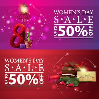 Bannières de réduction de la journée des femmes avec des bonbons, rose et tulipe