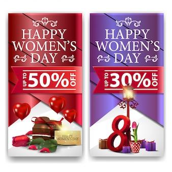 Bannières de réduction de la journée des femmes avec des bonbons
