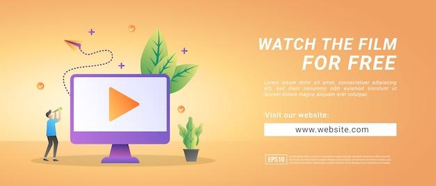 Les bannières regardent des films gratuits. bannières pour supports promotionnels