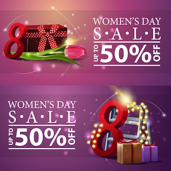 Bannières de remise des femmes avec des cadeaux