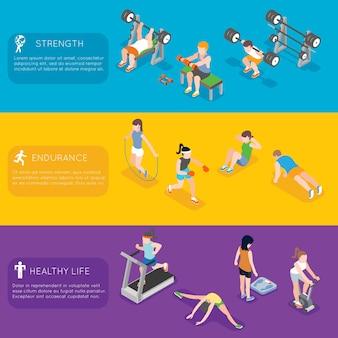 Bannières de remise en forme. fitness exercice de sport, bannière de salle de fitness de formation