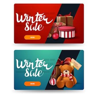 Bannières de remise d'hiver avec des cadeaux isolés