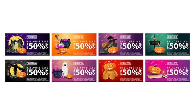 Bannières de remises horizontales halloween isolés