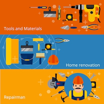 Bannières de réparation et de rénovation domiciliaires