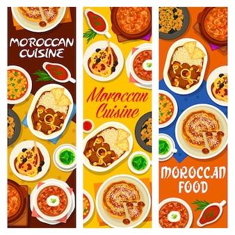 Bannières de repas cuisine marocaine café nourriture. soupe poulet tomate, tarte aux figues aux amandes et ragoût d'agneau aux dattes, porc aux pruneaux, orge perlé et soupe harira, poulet au citron confit, thé à la menthe