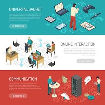Bannières réseaux de communication internet