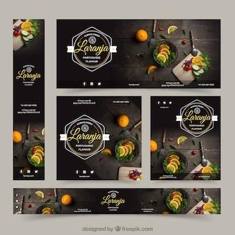 Bannières de restaurant avec photographie de nourriture