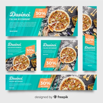 Bannières de restaurant de pizza moderne avec photo