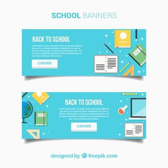 Bannières de retour à l'école en design plat