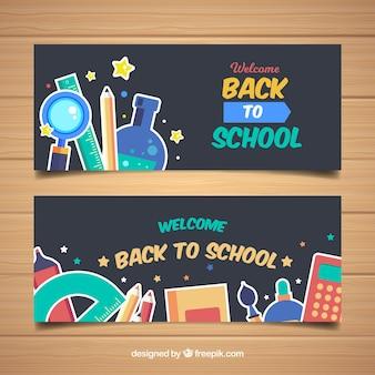Bannières de retour à l'école avec un design plat
