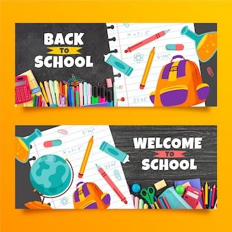 Bannières de retour à l'école dessinées à la main avec photo