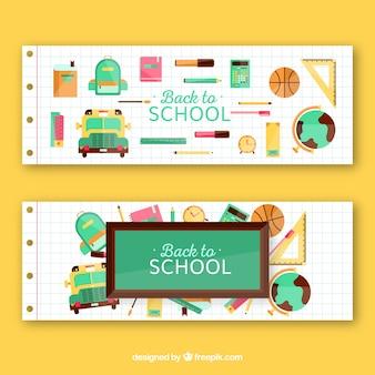 Bannières de retour à l'école avec fournitures scolaires et autres articles
