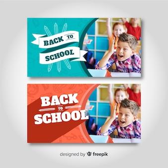 Bannières de retour à l'école avec photo
