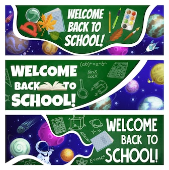 Bannières de retour à l'école avec des planètes de galaxie de dessin animé
