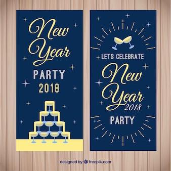Bannières rétro de la nouvelle année 2018