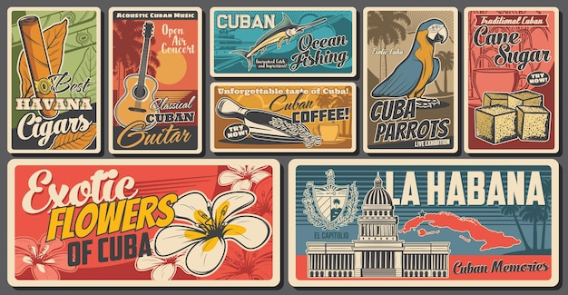 Bannières rétro de voyage cubain
