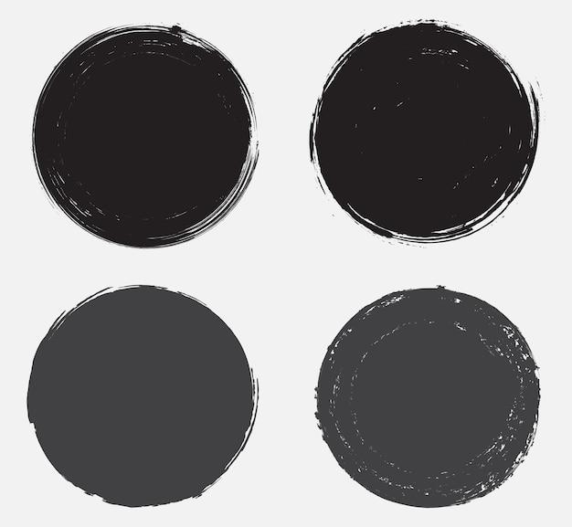 Bannières rondes abstraites grunge noir