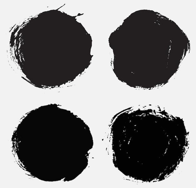 Bannières rondes grunge noir