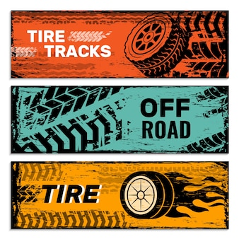 Bannières de roues. pneus sur la saleté de voiture protecteur de route trace des graphiques vectoriels grunge. carte d'affiche d'illustration, service automobile web