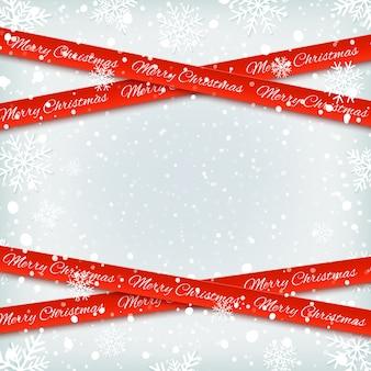 Bannières rouges sur fond d'hiver avec de la neige