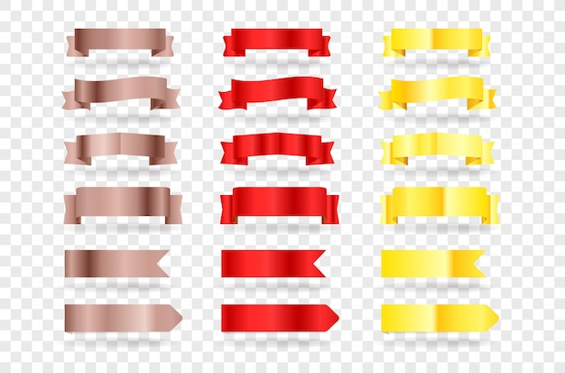 Bannières rouges et or. clipart éléments isolés sur fond transparent