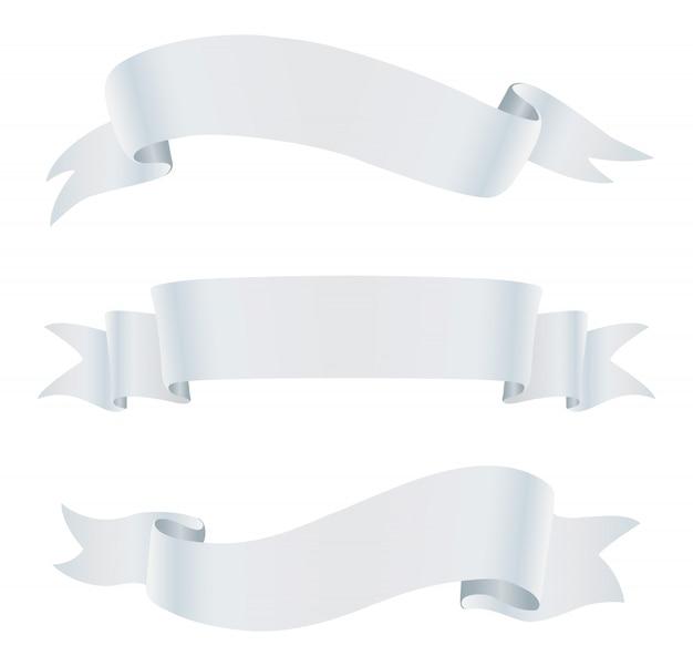 Bannières de ruban blanc