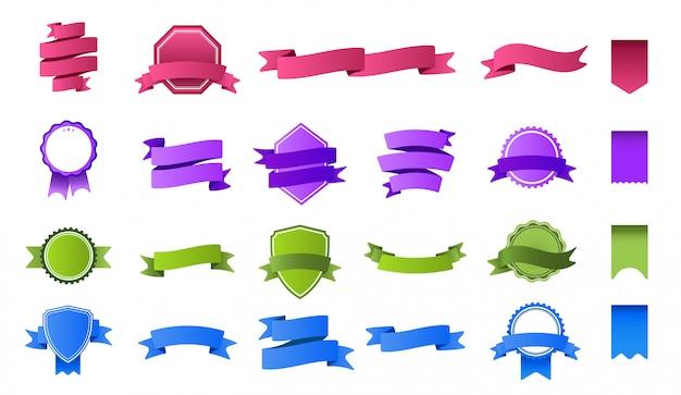 Bannières de ruban de couleur. bannière d'étiquette colorée, étiquette de rubans vierges et ensemble de cadre d'insigne de drapeau courbé timbres et banderoles multicolores vides. collection de banderoles et fanions lumineux